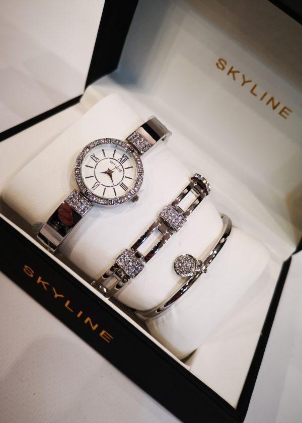 Conjunto de reloj/pulseras con brillos