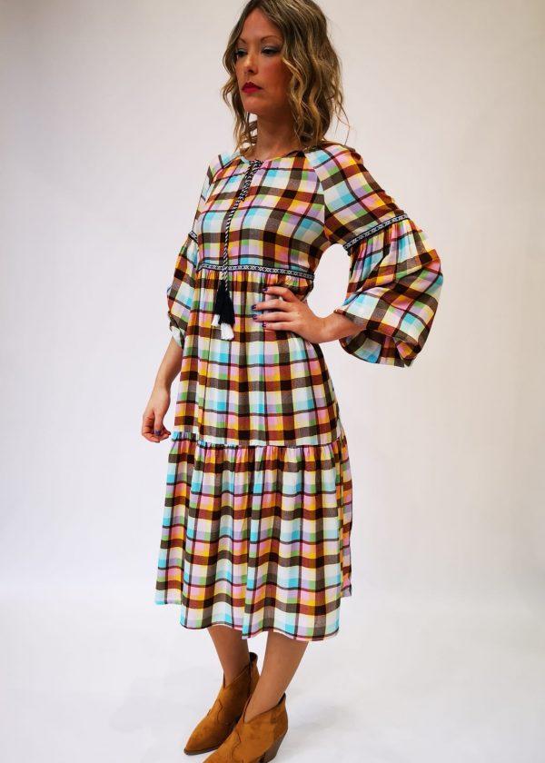 Vestido cuadros multicolor