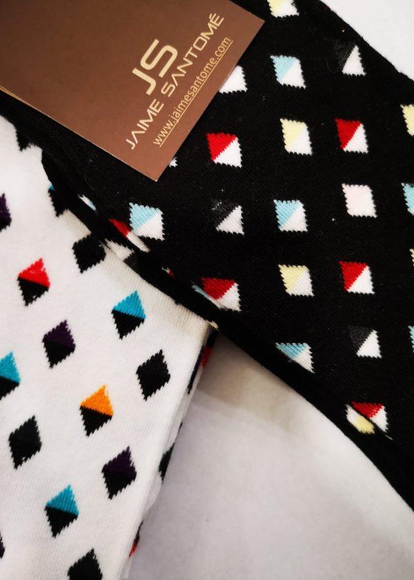 Calcetín de rombo bicolor