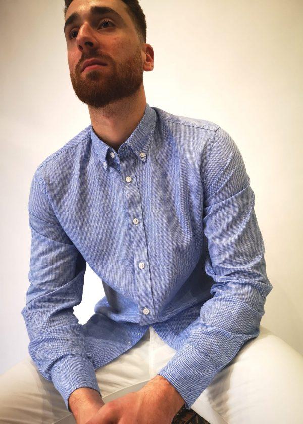 Camisa jaspeada en punto de lino