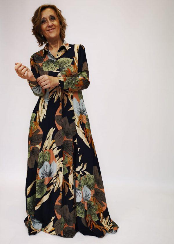 Vestido camisero hojas