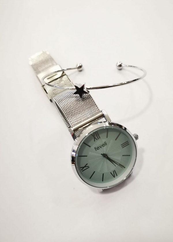 Conj. Reloj/Pulsera acero