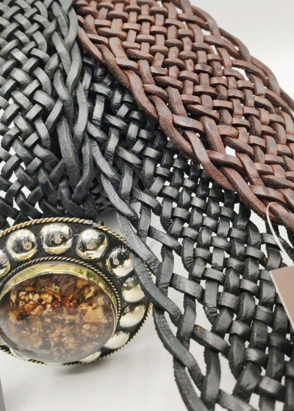 Cinturón piel trenzado