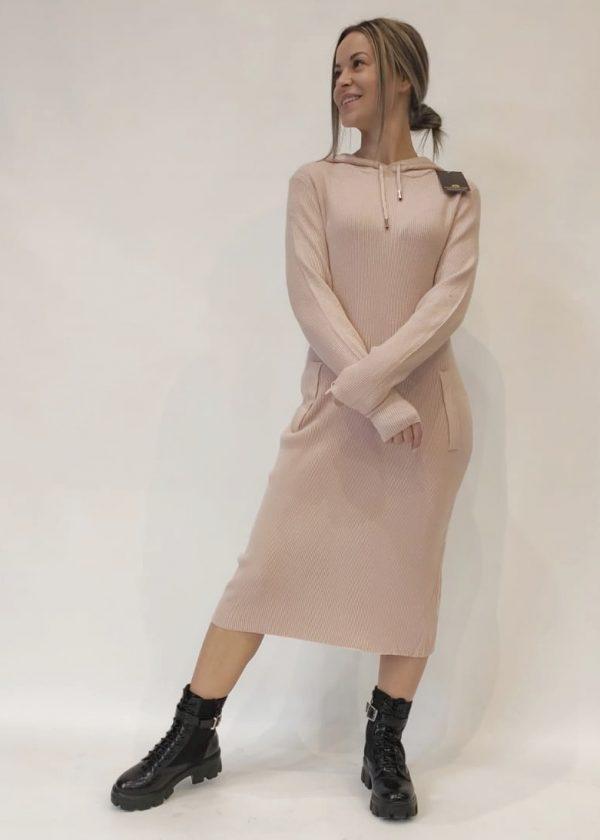 Vestido punto con capucha